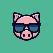 Cool Pig In Sunglasses Icon. Piggy Head Logo