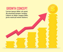 Dollar Growth Concept. Dollar Revenue Illustration. Stacks Of Gold Coins Like Income Graph With Dollar