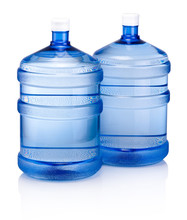 Two Big Blue Plastic Cooler Bo...