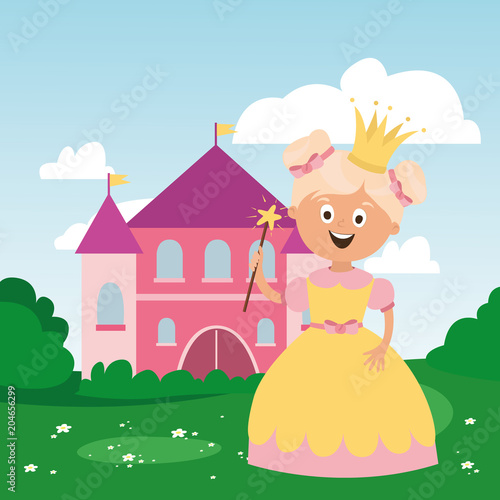 Foto op Aluminium Kasteel children's character. a magical princess with a crown, a castle. vector
