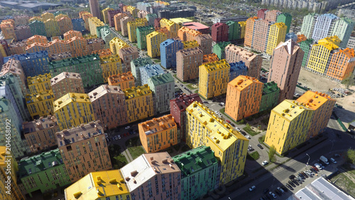 Tuinposter Kiev district of colorful houses in Kiev, aerial view