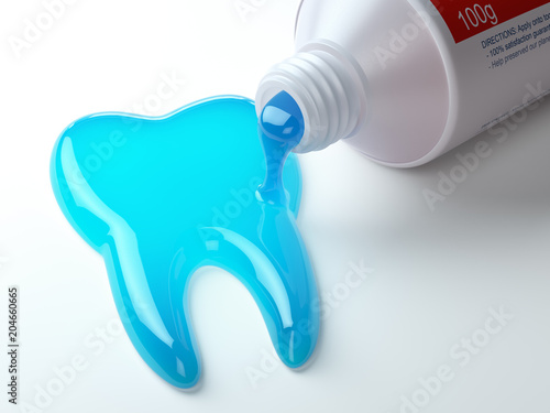 Fotomural Toothpaste in the shape of tooth coming out from toothpaste tube