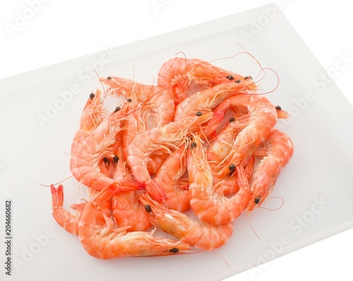 Cooked Prawns or Tiger Shrimps in A Tray