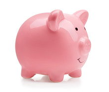 Single Pink Ceramic Piggy Bank Isolated On White Background