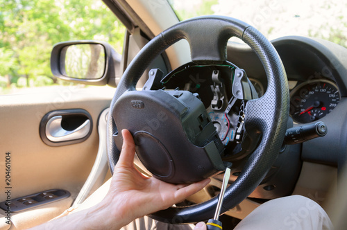 Steering wheel repair Canvas Print