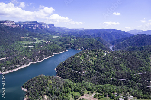 Canvas Prints Blue Aerial view of the marsh of Sau in Spain.