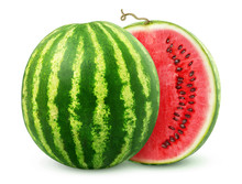 One Watermelon Cut In Halves I...