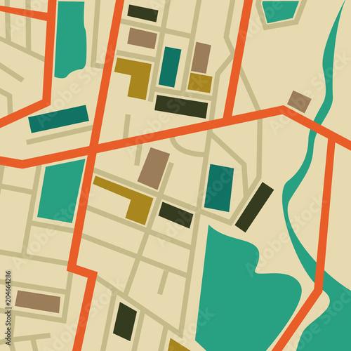 Foto op Plexiglas Op straat Map populated area