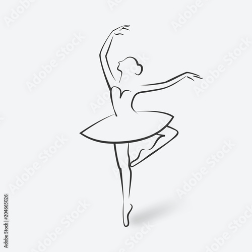 Photo sketch ballet posture. dancing studio symbol