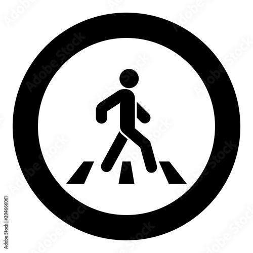 Photographie Pedestrian on zebra crossing icon black color vector illustration simple image