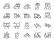 Food truck icon set. Included the icons as flea market, street food, hamburger, hotdog, trailer, business, merchant and more.
