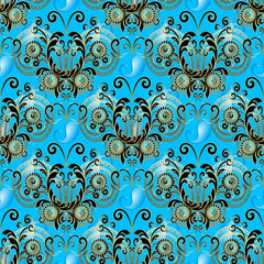 Elegance paisley seamless pattern with abstract gold vintage butterlies. Floral light blue ornamental background. Beautiful paisley flowers, swirls, butterflies. Luxury design for wallpaper, fabric