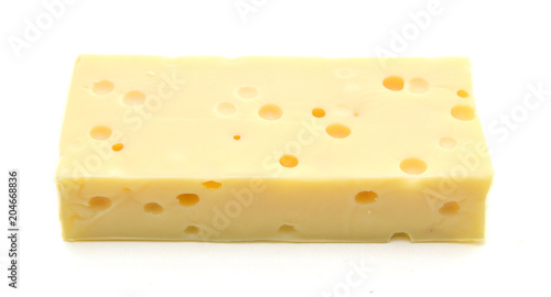 Staande foto Zuivelproducten piece of cheese isolated on a white background
