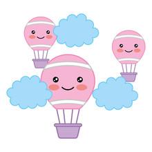 Kawaii Hot Air Balloons Flying In Sky Cartoon Vector Illustration