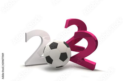 Fotografia  2022 soccer ball symbol qatar color 3d illustration