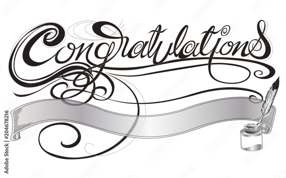 Valokuva  Congratulations with quill pen and ink sign or card design gray scale