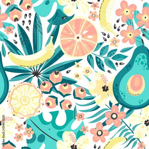 Bezszwowe tło z tropikalnych owoców
