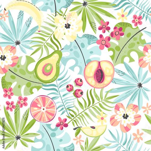 Bezszwowy wzór z owoc i kwiatami