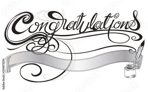 Fotografiet Congratulations with quill pen and ink sign or card design gray scale