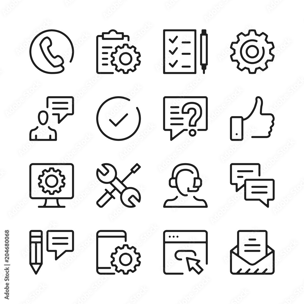 Fototapeta Customer support line icons set. Modern graphic design concepts, simple outline elements collection. Vector line icons