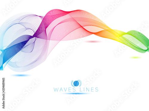 Fotografía  colorful light waves line bright abstract vector illustration