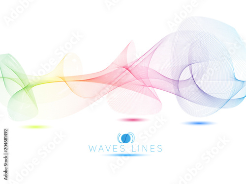 Pinturas sobre lienzo  colorful light waves line bright abstract