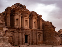 Sunlight Lights Up The Front Of The Monestary At Petra Jordan