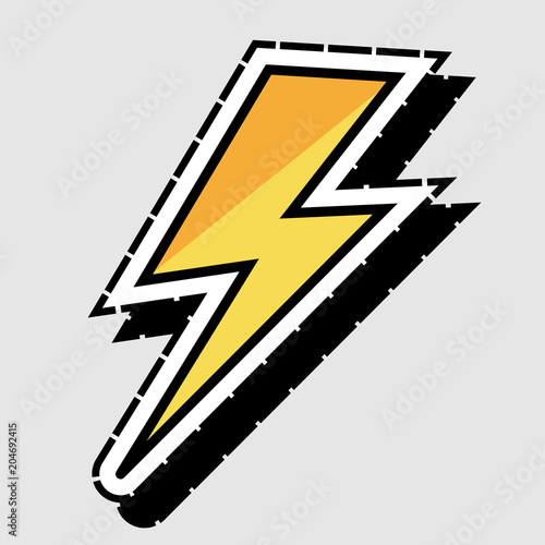 Flat Yellow Lightning Bolt Logo Icon Outlined In White And A Dashed Black Line Isolated On Light Grey Buy This Stock Vector And Explore Similar Vectors At Adobe Stock Adobe Stock