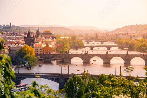 Bridges of Prague over Vltava River on sunny summer day Canvas Print
