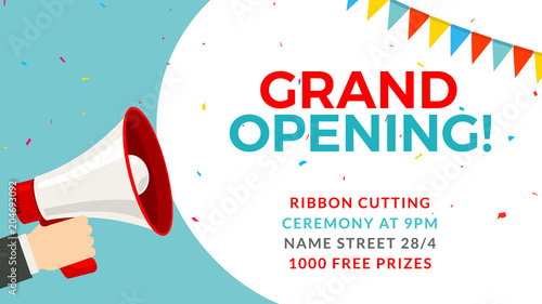 Obraz Grand opening flyer banner template. Marketing business concept with megaphone. Grand Opening advertising - fototapety do salonu