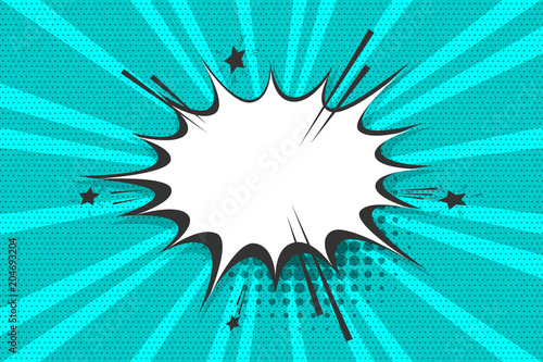 Clear empty boom comic text speech bubble Pop Art Style. Empty wow balloon. Message cloud blue background sticker. Vector illustration conversation, dialog. Colored space back.