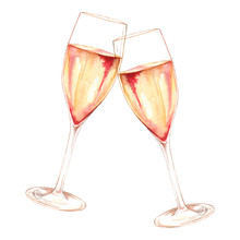 Watercolor Two Glasses Of Cham...