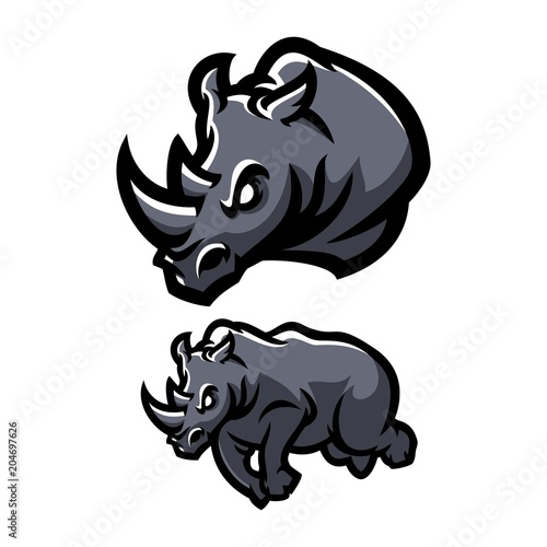 rhinoceros esport gaming mascot logo template buy this stock