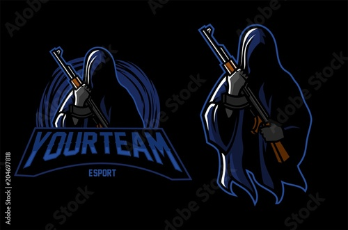 Photo  grim reaper holding riffle esport gaming mascot logo template