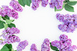 Floral frame composition with lilac flowers and leaves on white background. Flat lay, top view. Flower pattern