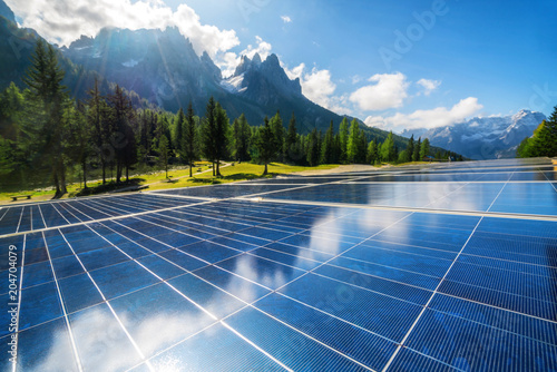 Solar cell panel in country mountain landscape. Fototapet