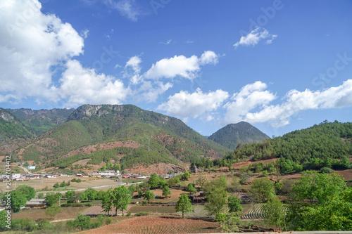 Tuinposter Blauwe hemel landscape