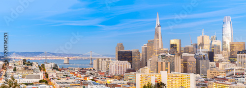 San Francisco downtown skyline Aerial view at sunset from Ina Coolbrith Park Hill in San Francisco, California, USA Wallpaper Mural