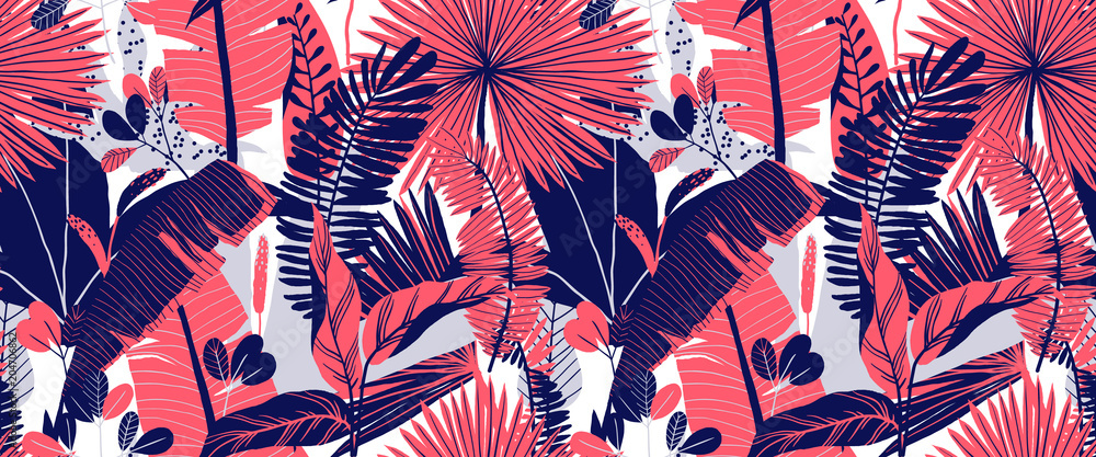 Fototapety, obrazy: Seamless pattern, hand drawn tropical plant, leaf, pink and blue tones on white background