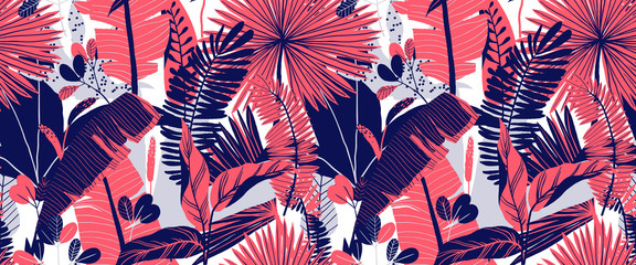 Seamless pattern, hand drawn tropical plant, leaf, pink and blue tones on whi...