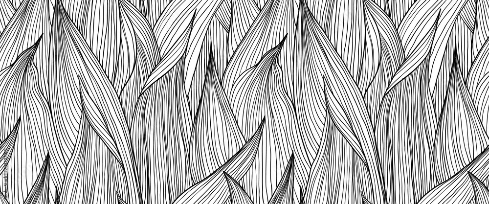 Fototapety, obrazy: Seamless pattern, hand drawn outline black ink long shape leaves on white background