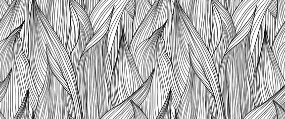 Seamless pattern, hand drawn outline black ink long shape leaves on white bac...