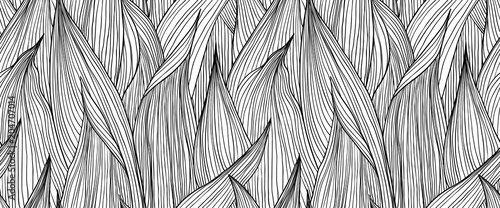 Obraz Seamless pattern, hand drawn outline black ink long shape leaves on white background - fototapety do salonu