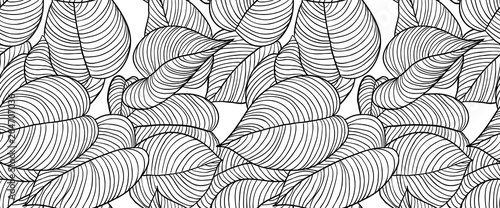 Seamless pattern, hand drawn outline black ink heart shape leaves on white background