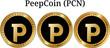 Set of physical golden coin PeepCoin (PCN)