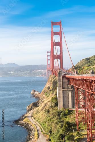 Obraz San Francisco, the Golden Gate Bridge, sunny day  - fototapety do salonu