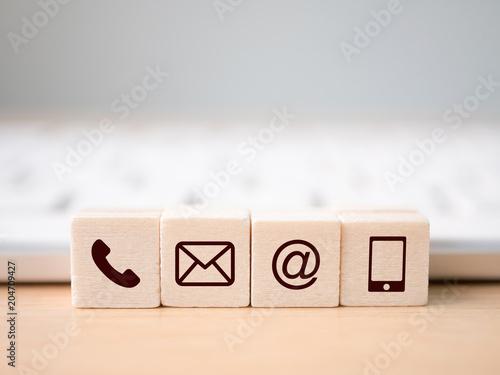 Wood block symbol telephone, mail, address and mobile phone Wallpaper Mural