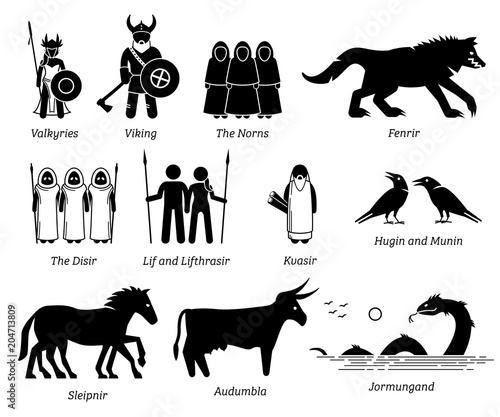Ancient Norse Mythology People, Monsters and Creatures Characters Icon Set Wallpaper Mural