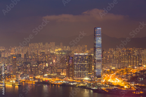 Deurstickers Stad gebouw Hong Kong night light over city business downtown aerial view, cityscape background