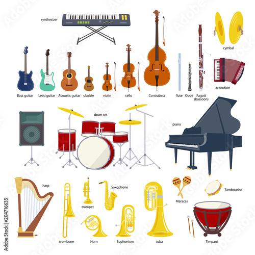 Fotografía  Music Instrument vector illustration set
